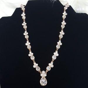 Rose Gold Crystal Tear Drop Necklace